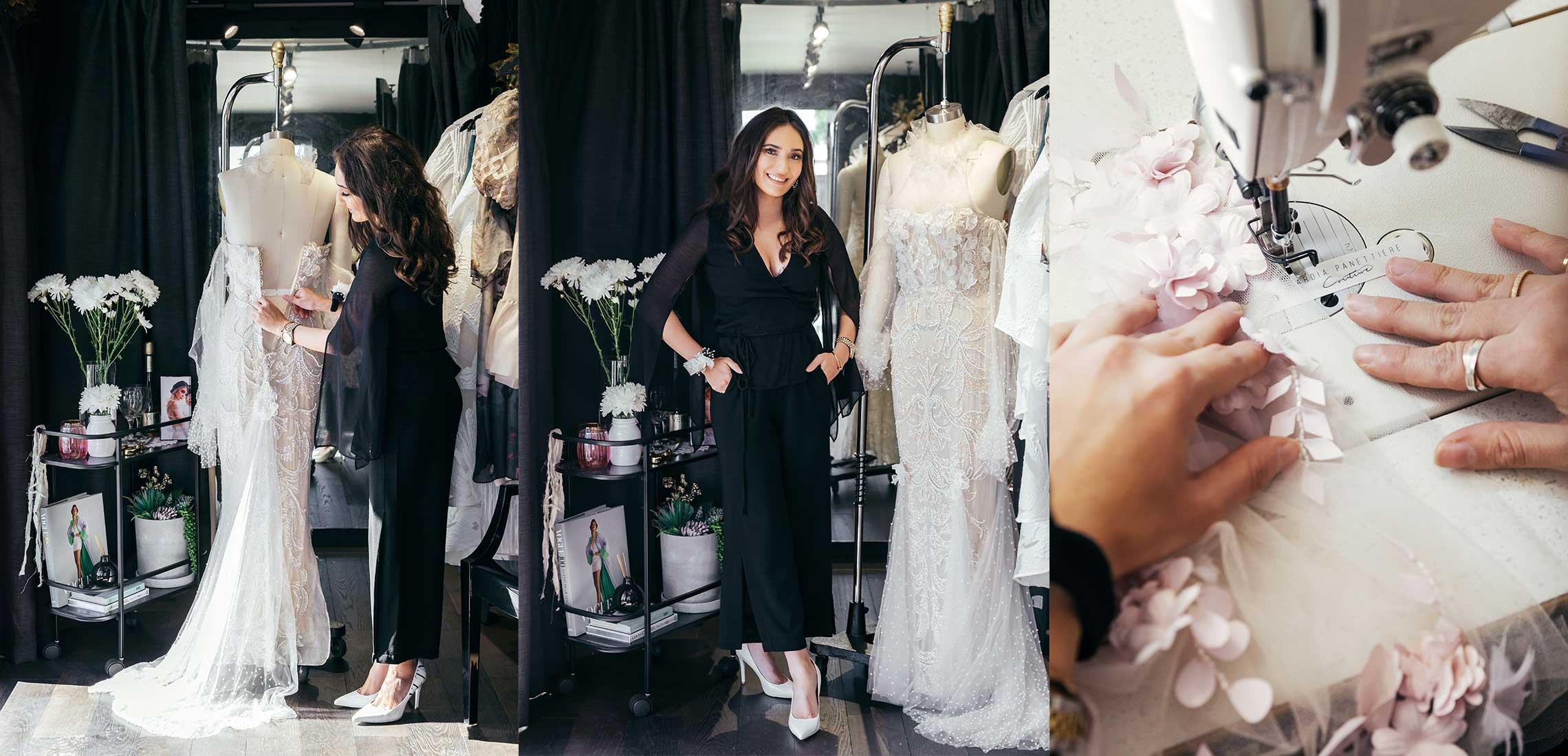 Nardia Pannettiere - A Designer of High End Couture Dresses posing with her works
